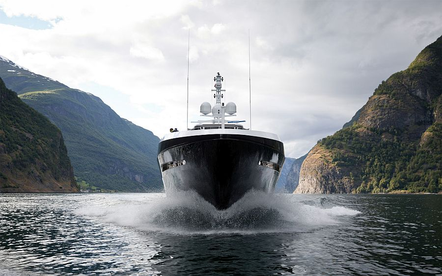 Heesen's superyacht Ann G surrounded by Norwegian Fjords